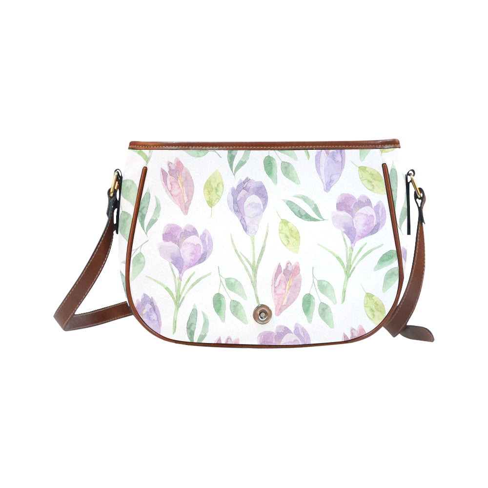 Purple Floral Theme White Base Saddle Bag - I Am A Dreamer