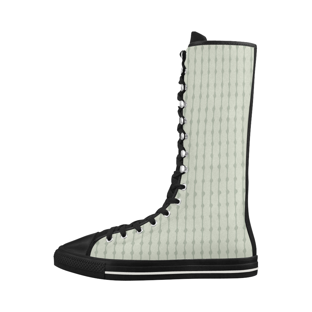 Vintage Fashion Black Canvas Long Boots For Women - I Am A Dreamer