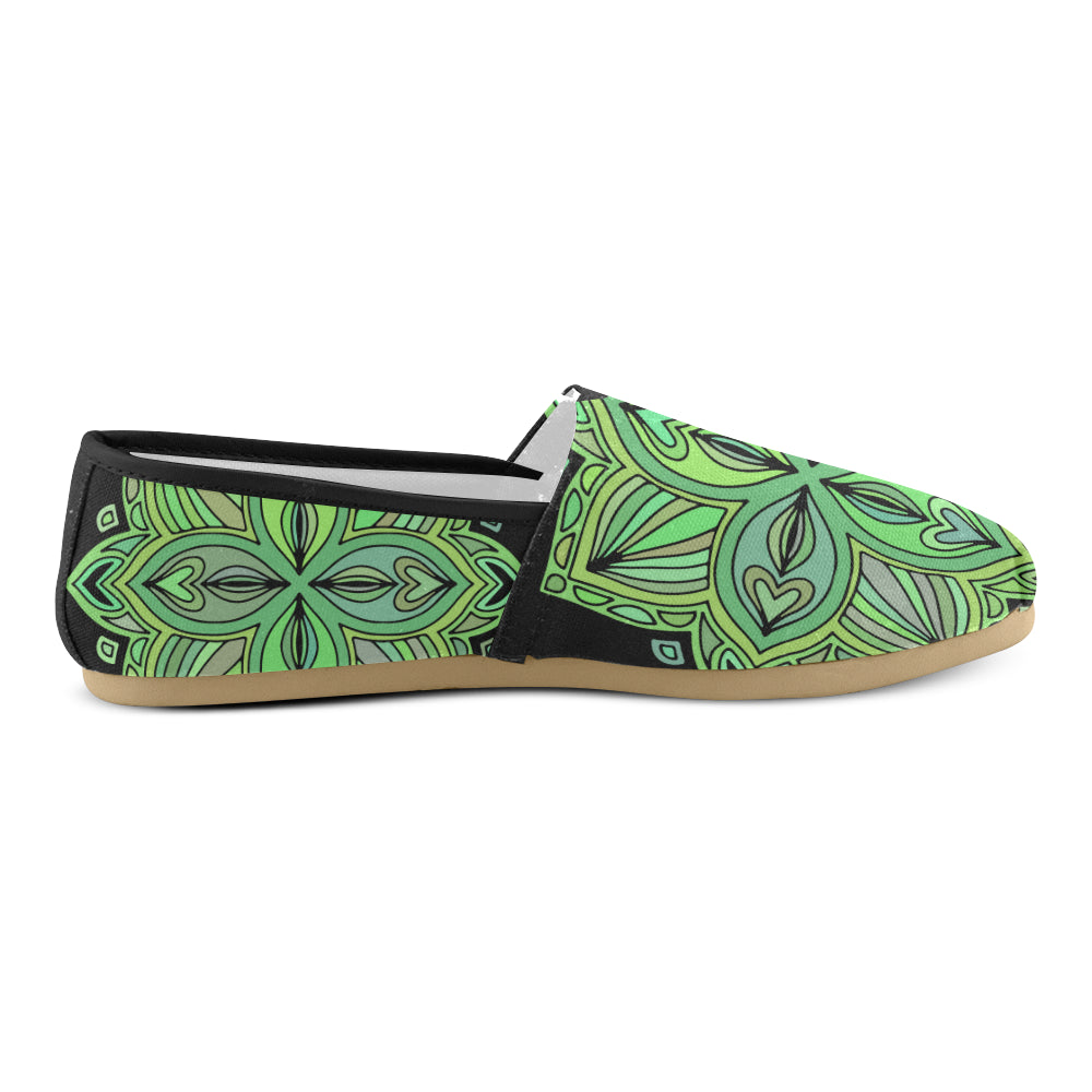 Green Floral Black Base Women's Casual Shoes - I Am A Dreamer