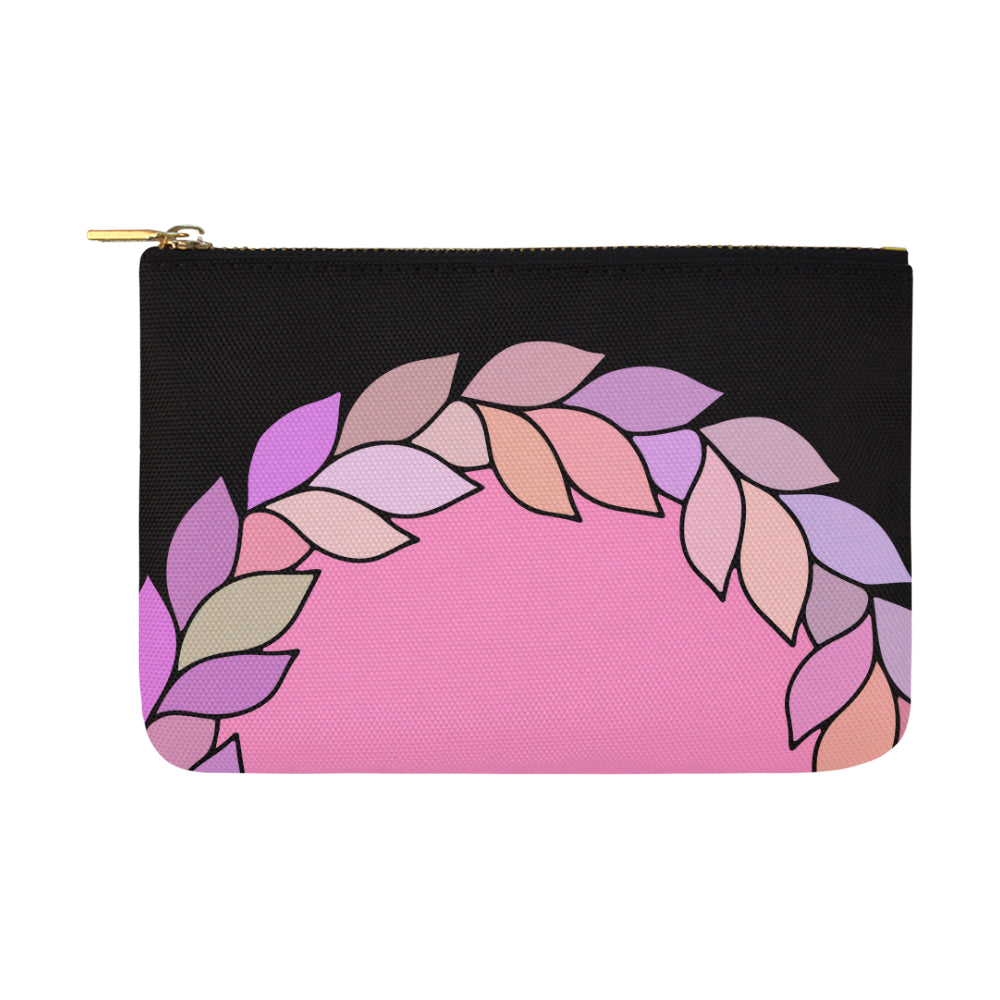 Floral Leaves Colors 8 Black Carry-All Pouch - I Am A Dreamer