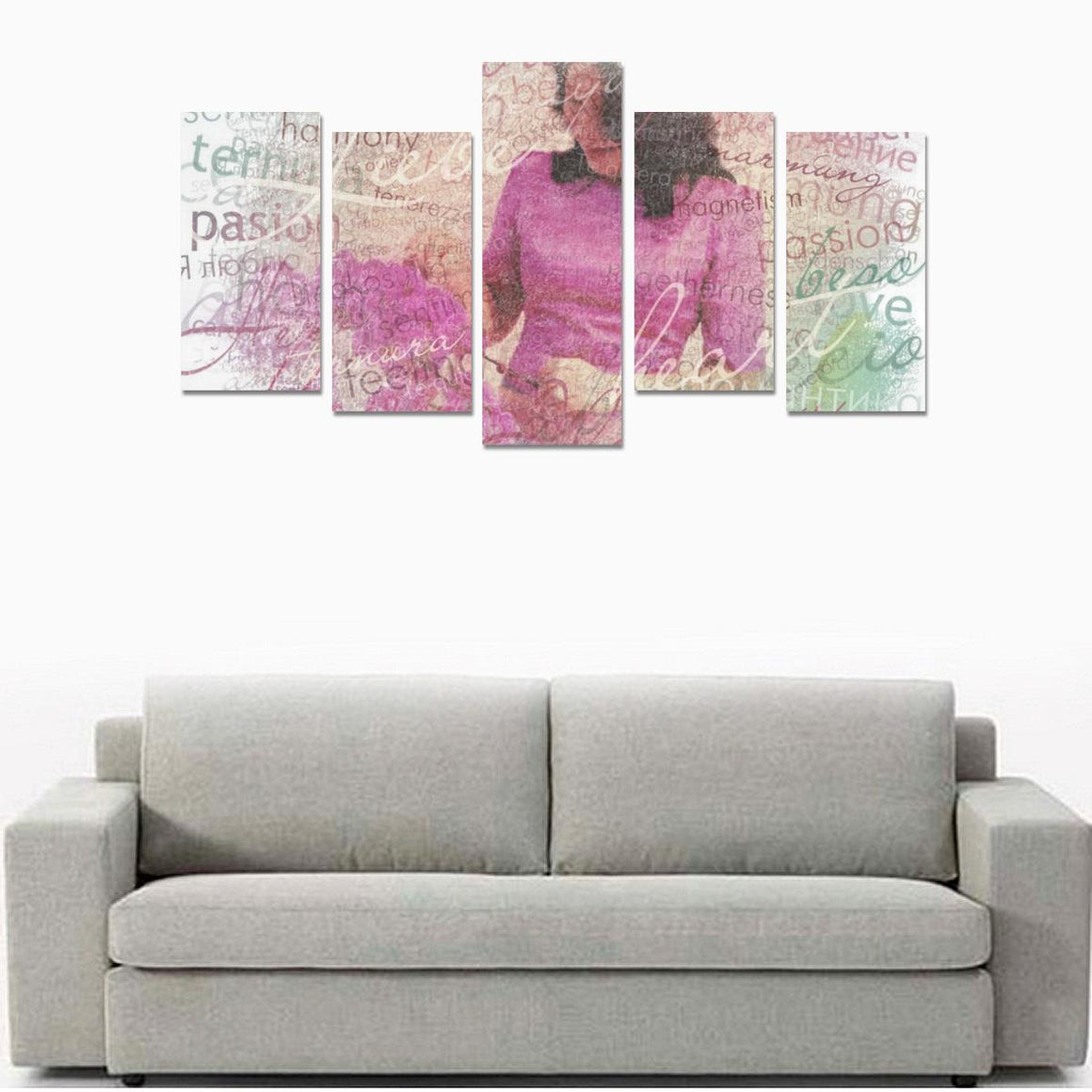 Levi Thang Violet Vintage Letters Wall Art Canvas Print Sets E