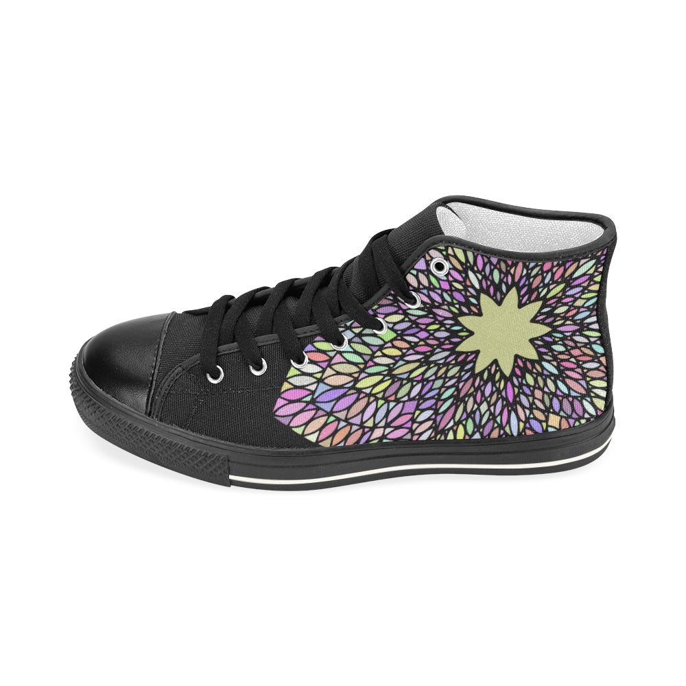Colorful Mandala Black Base Women's Classic High Top Canvas Shoes - I Am A Dreamer