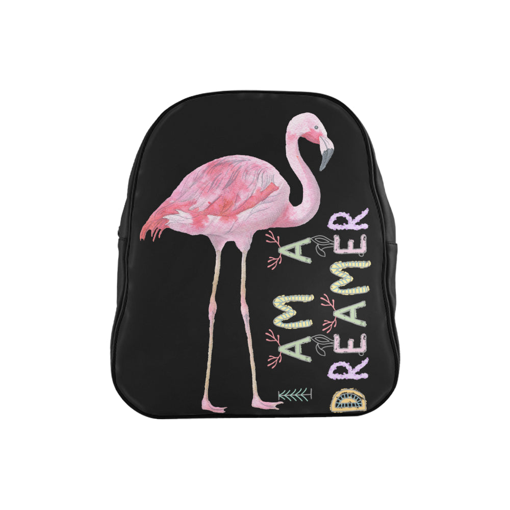 I Am A Dreamer Children Flamingo School Backpack - I Am A Dreamer