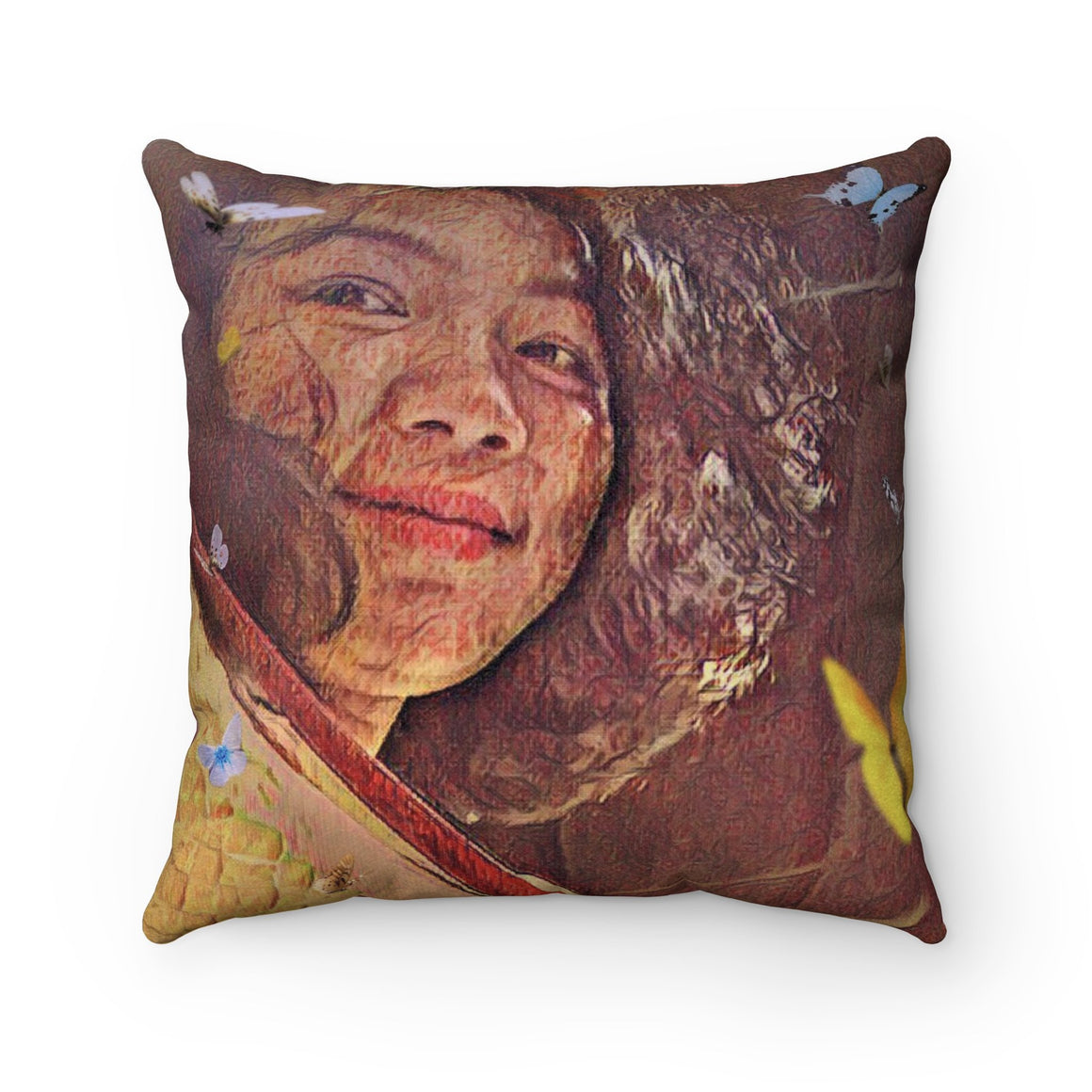 Levi Thang Vintage Face Design J Faux Suede Square Pillow Case