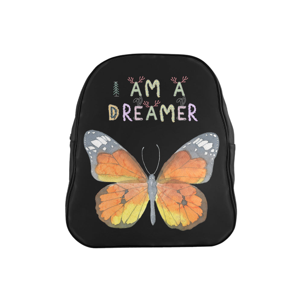 I Am A Dreamer Yellow Buttery Children School Backpack - I Am A Dreamer