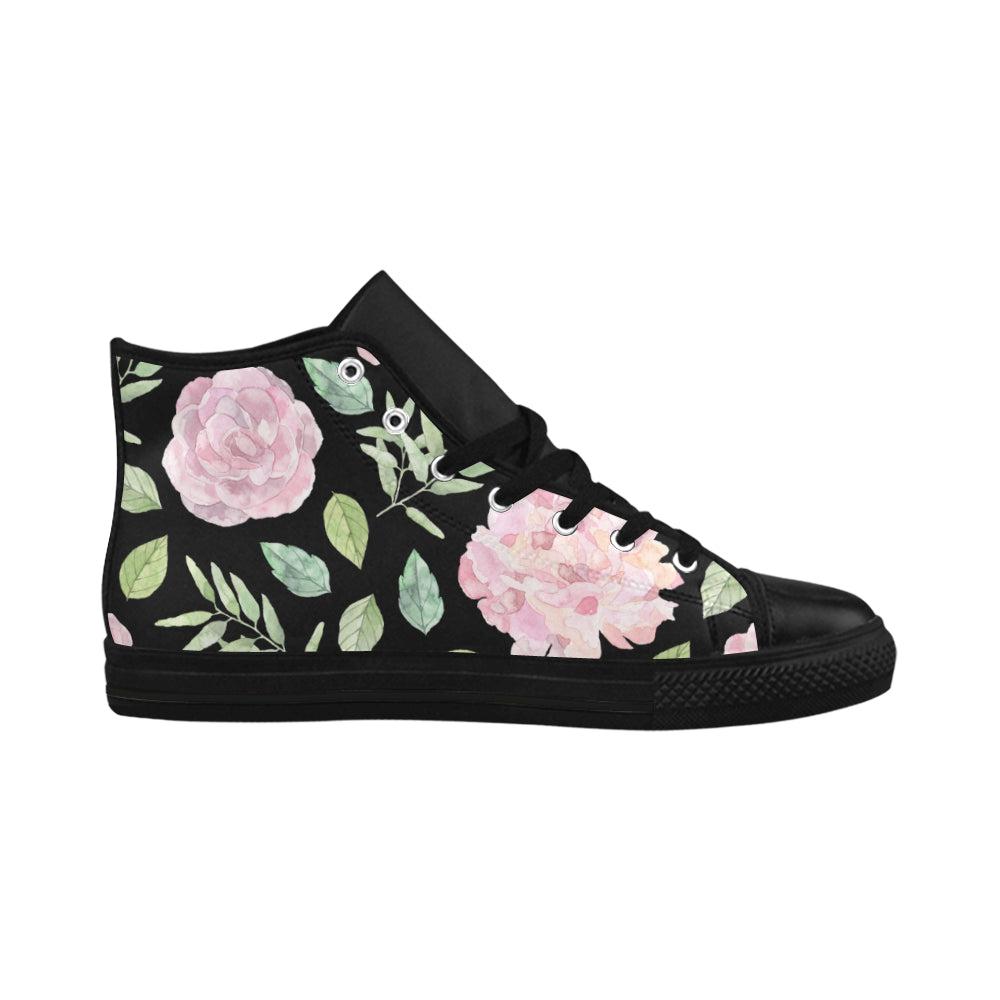 Floral Theme Black Aquila High Top Action Leather Women's Shoes - I Am A Dreamer
