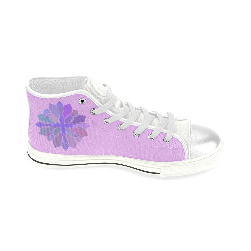 Purple Floral Cross High Top White Canvas Women's Shoes/Large Size - I Am A Dreamer