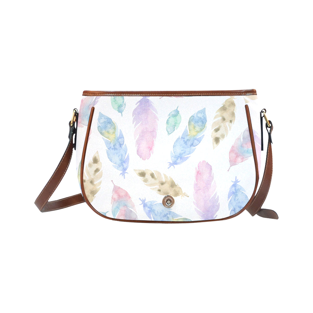 Elegant White Base Feather Safari Theme Saddle Bag - I Am A Dreamer