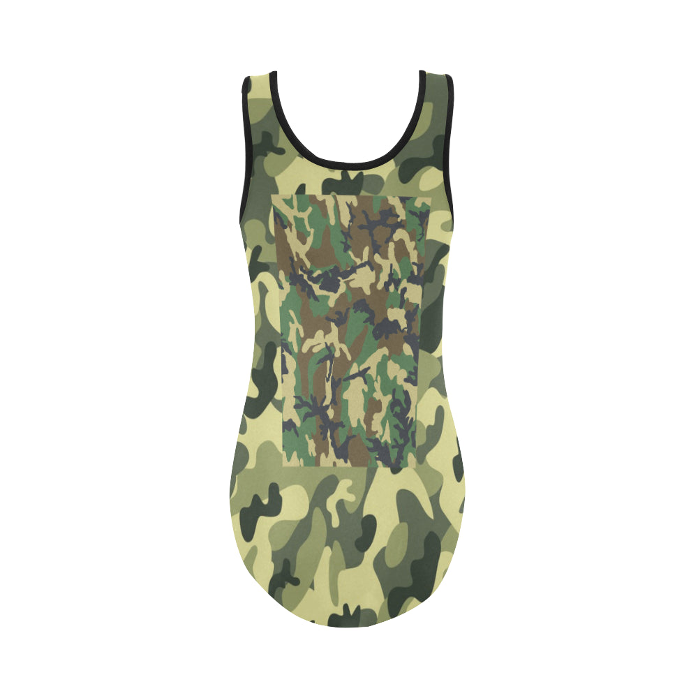 Camo Dark Green Vest One Piece Swimsuit - I Am A Dreamer