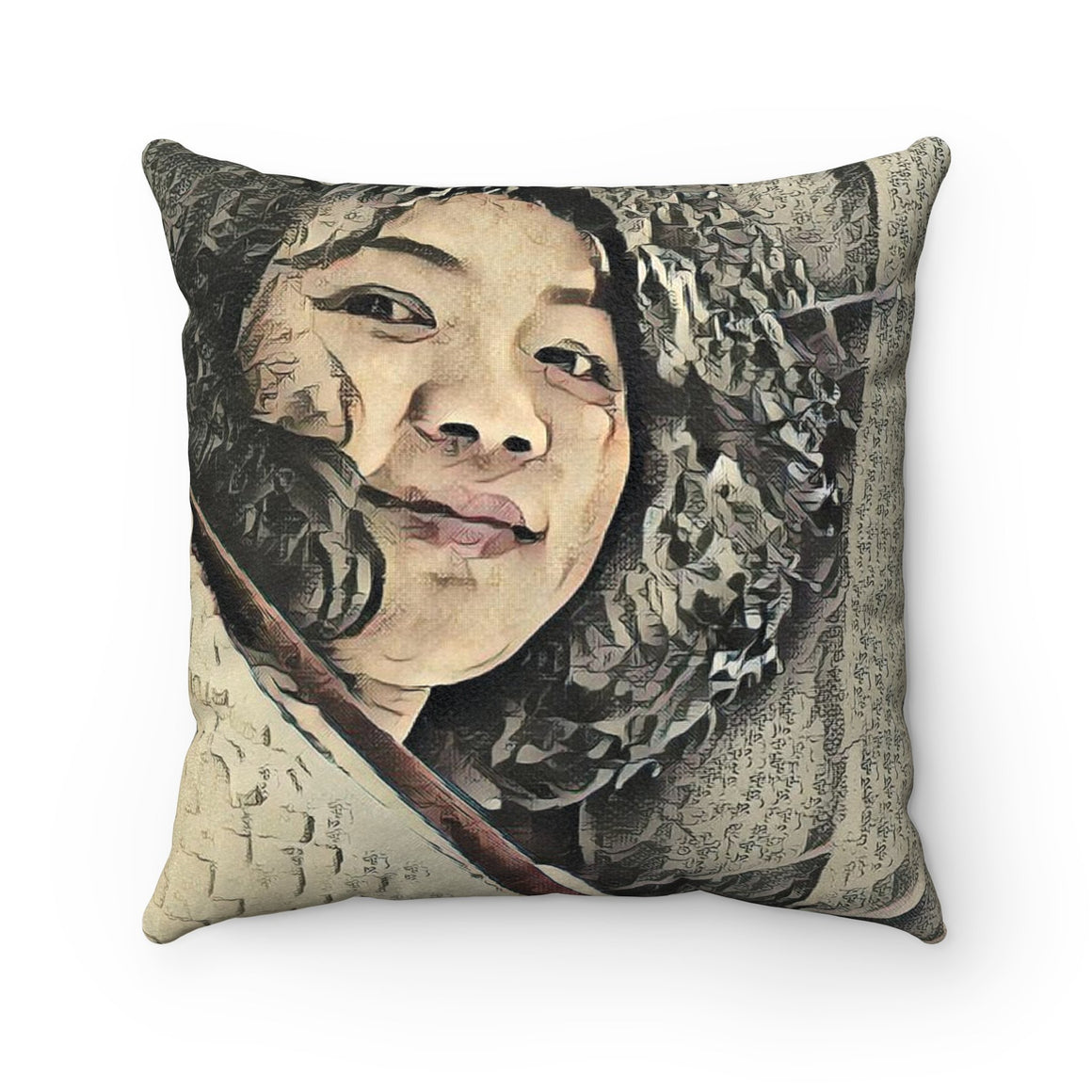 Levi Thang Vintage Face Design I Faux Suede Square Pillow Case