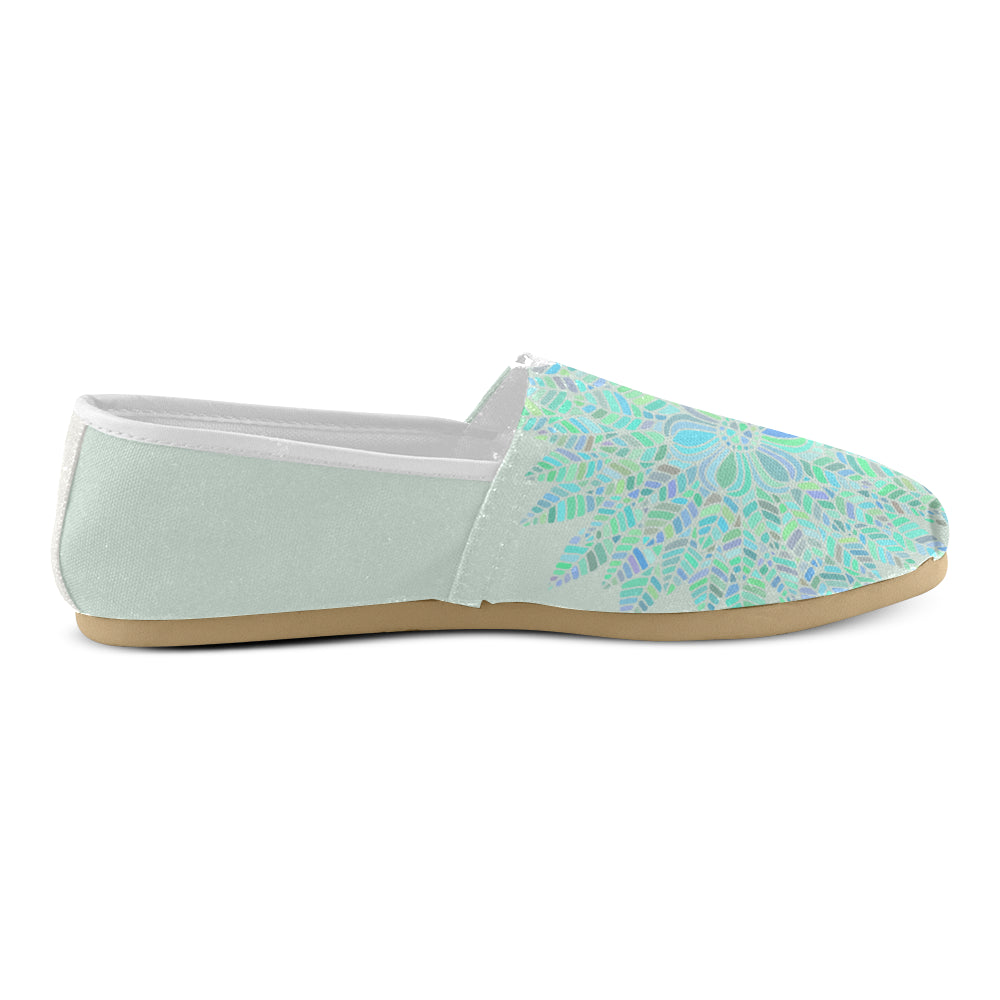 Simple Light Green Floral Women's Casual Shoes - I Am A Dreamer