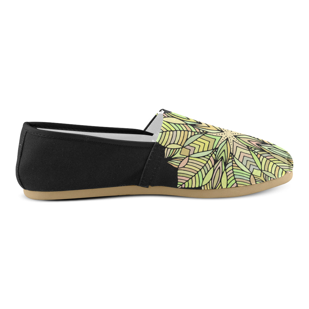Yellow Floral Mandala Black Back Women's Casual Shoes - I Am A Dreamer