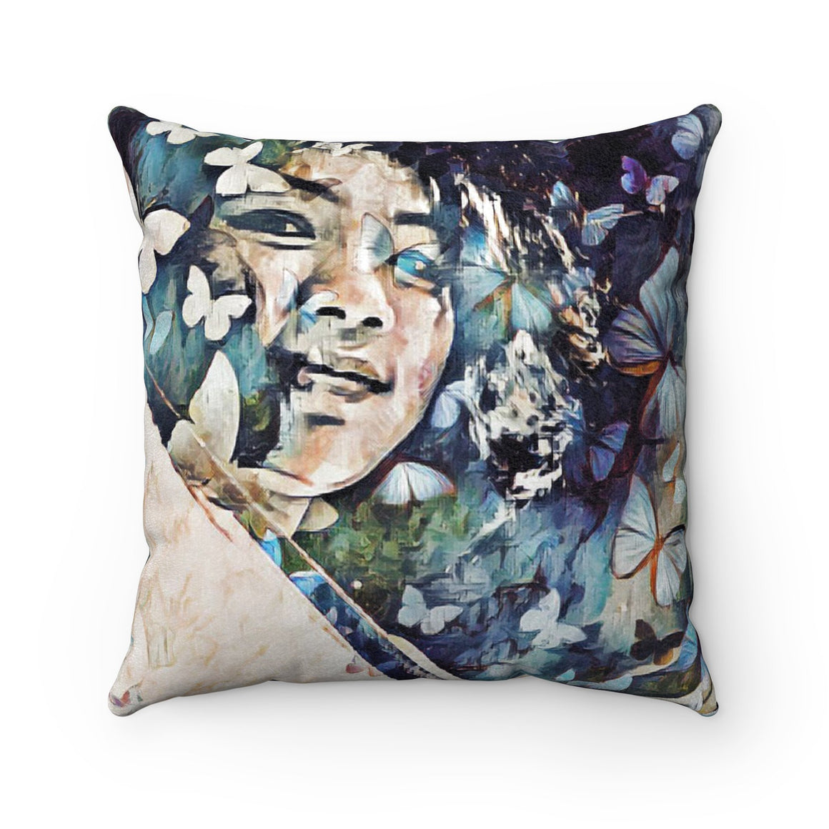 Levi Thang Vintage Face Design P Faux Suede Square Pillow Case