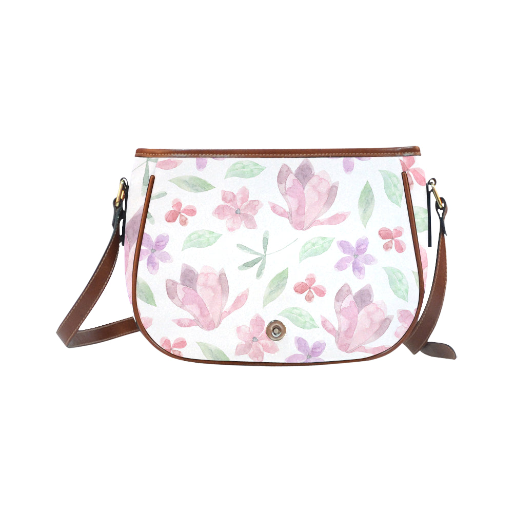 Purple Pink Floral Theme White Base Saddle Bag - I Am A Dreamer