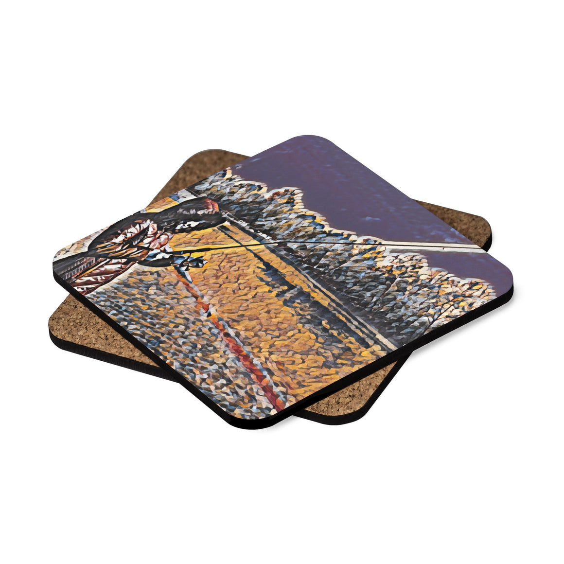 Levi Thang Fishing Design 3 Square Hardboard Coaster Set - 4pcs - I Am A Dreamer