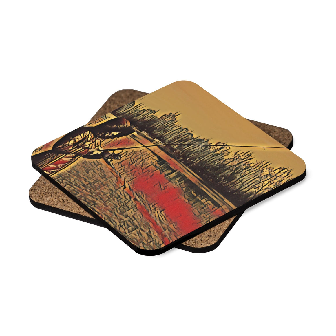 Levi Thang Fishing Design 11 Square Hardboard Coaster Set - 4pcs - I Am A Dreamer