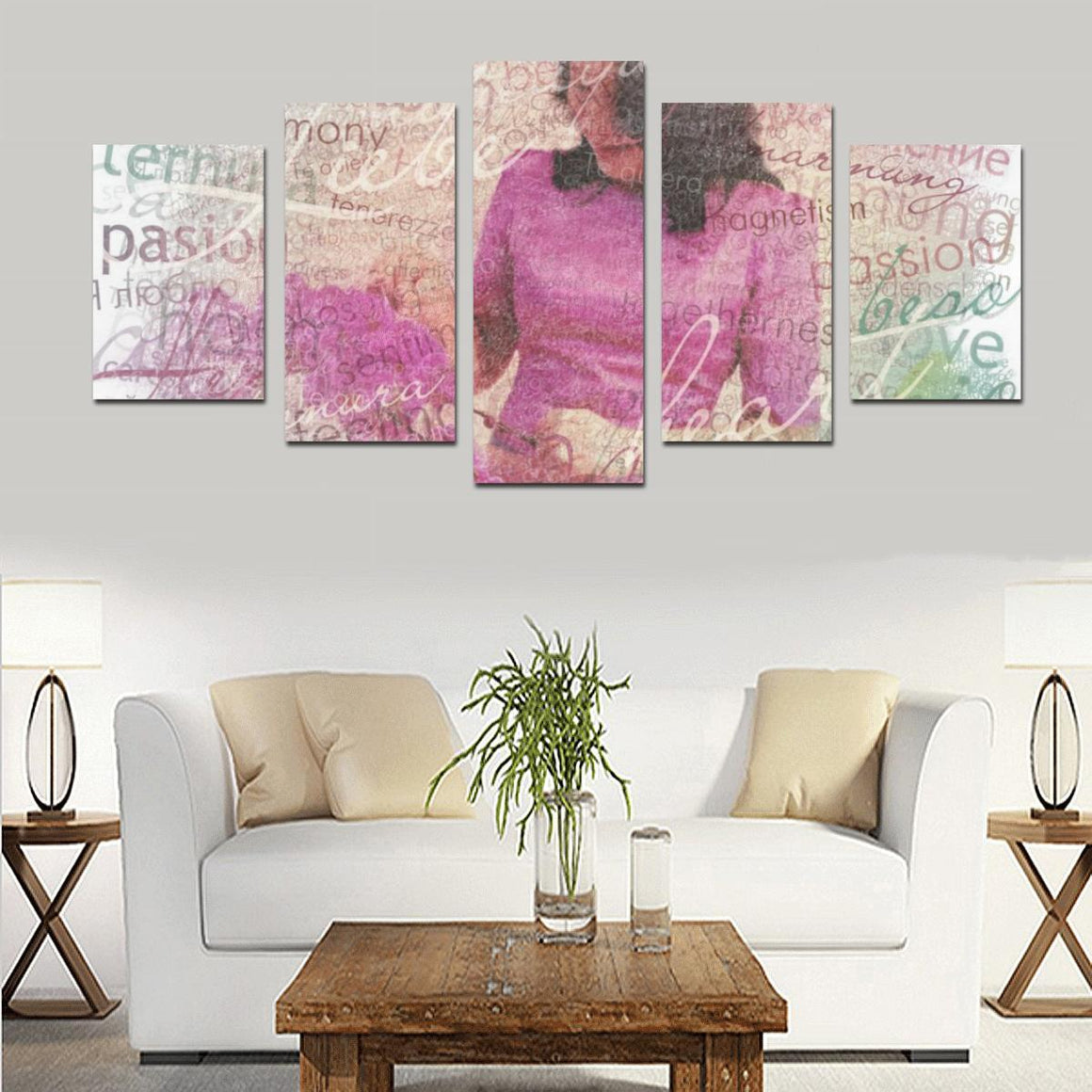 Levi Thang Violet Vintage Letters Wall Art Canvas Print Sets D