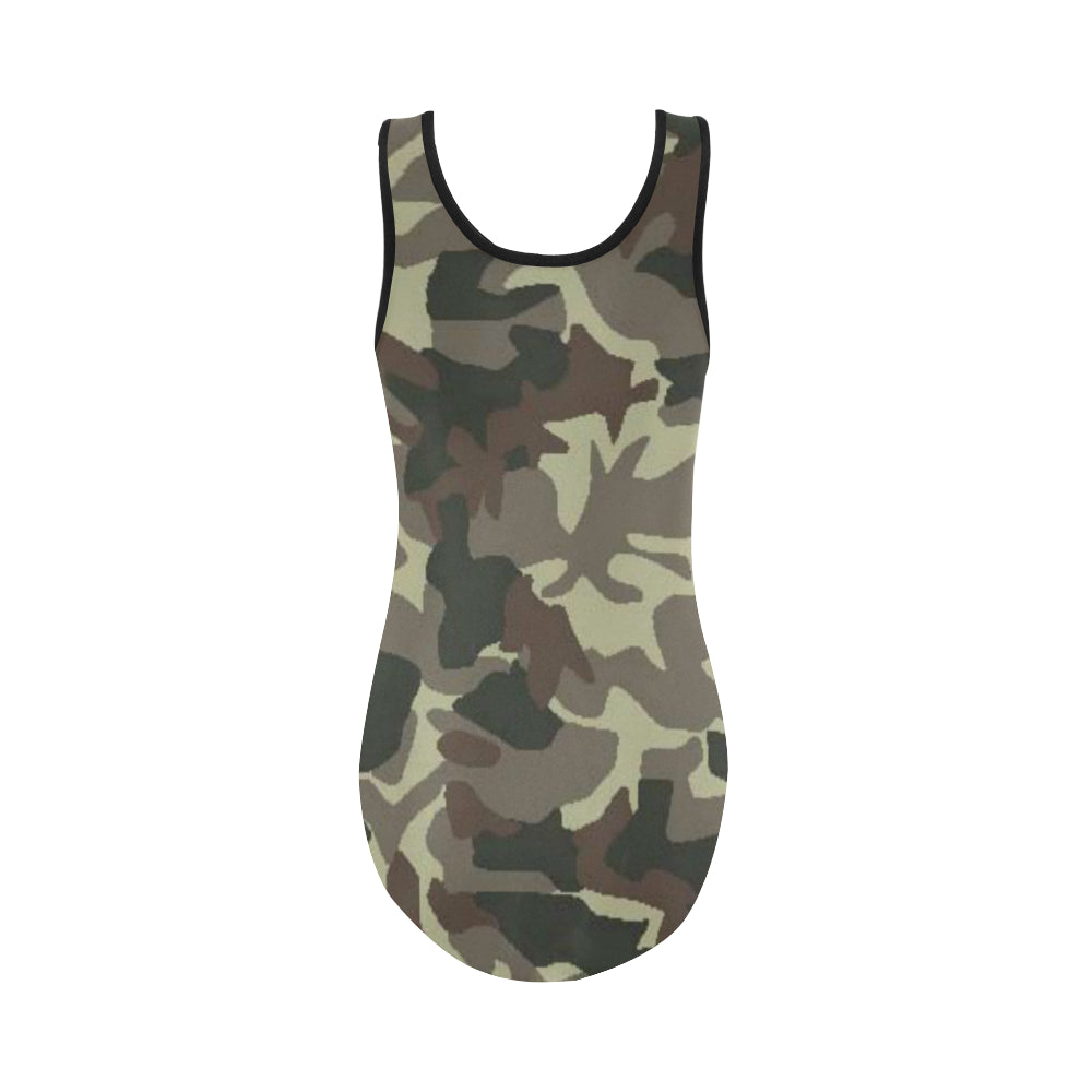 Camo Brown Vest One Piece Swimsuit