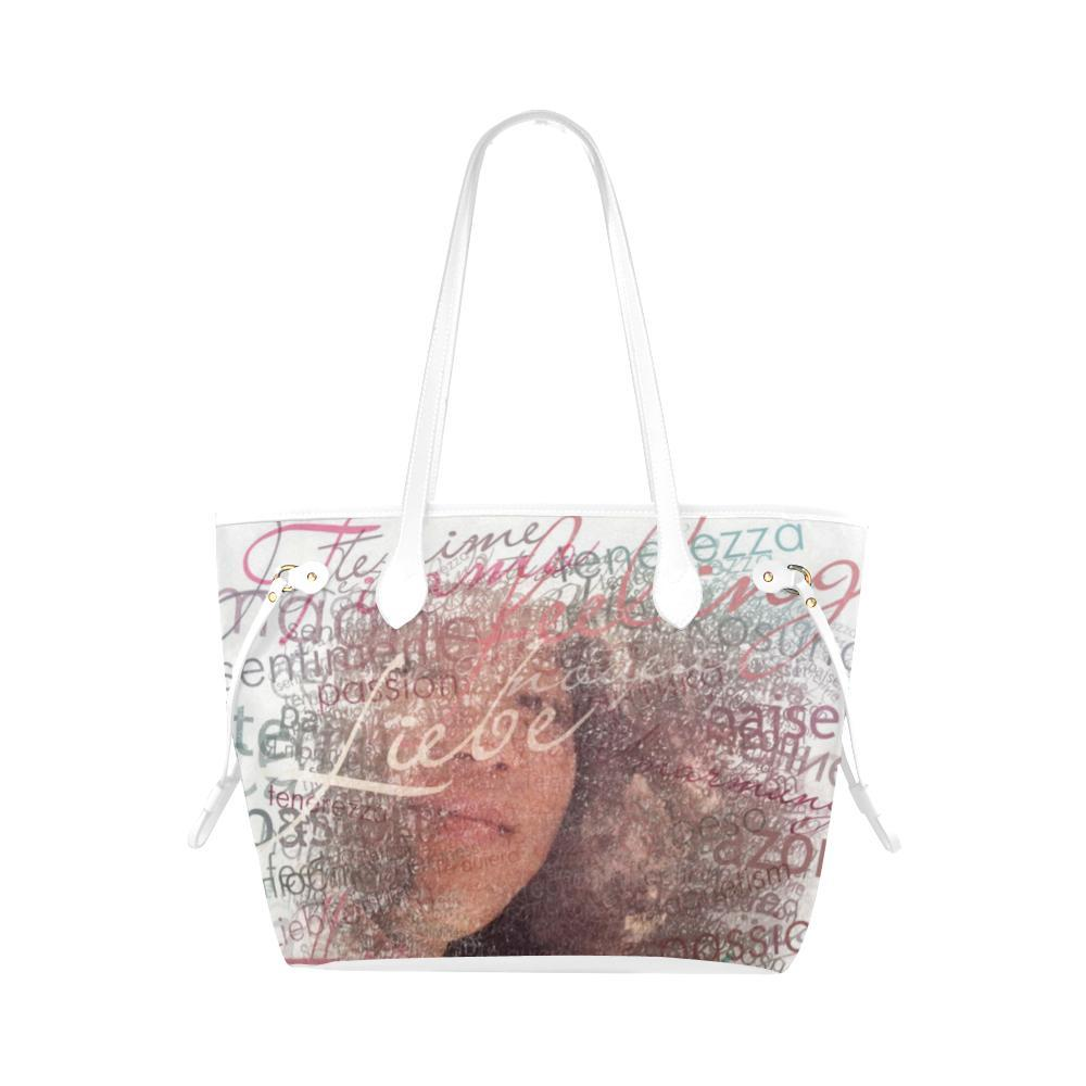 Levi Thang Half Face Vintage Letters Clover Canvas Tote Bag White