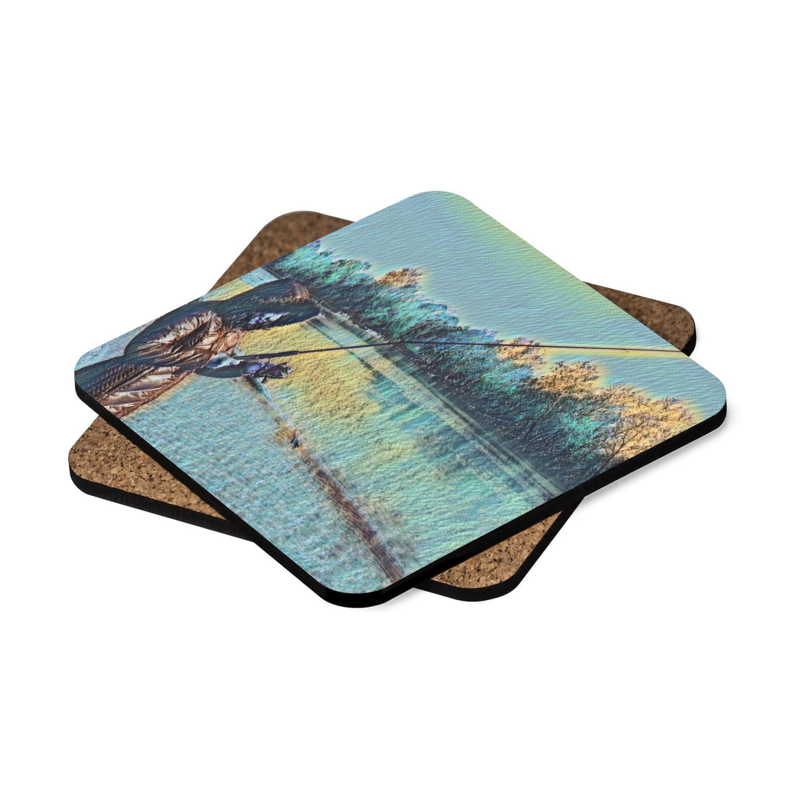 Levi Thang Fishing Design 16 Square Hardboard Coaster Set - 4pcs - I Am A Dreamer