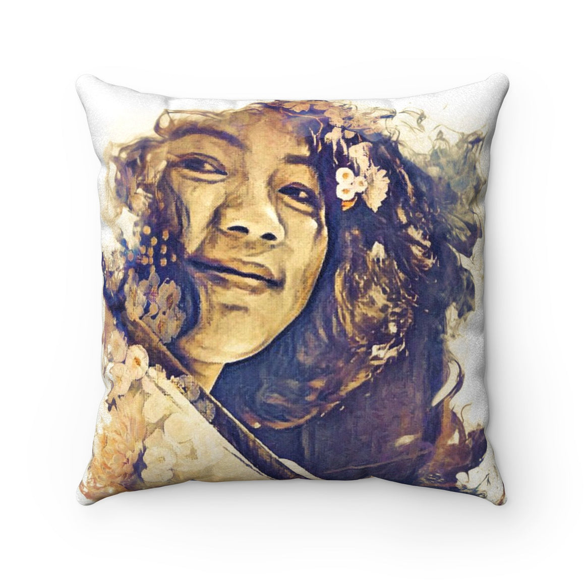 Levi Thang Vintage Face Design U Faux Suede Square Pillow Case