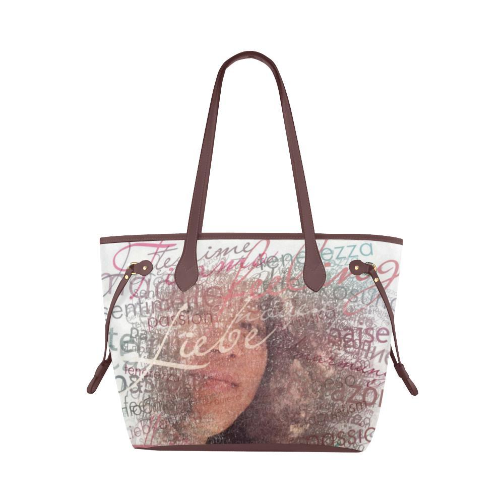 Levi Thang Half Face Vintage Letters Clover Canvas Tote Bag Brown