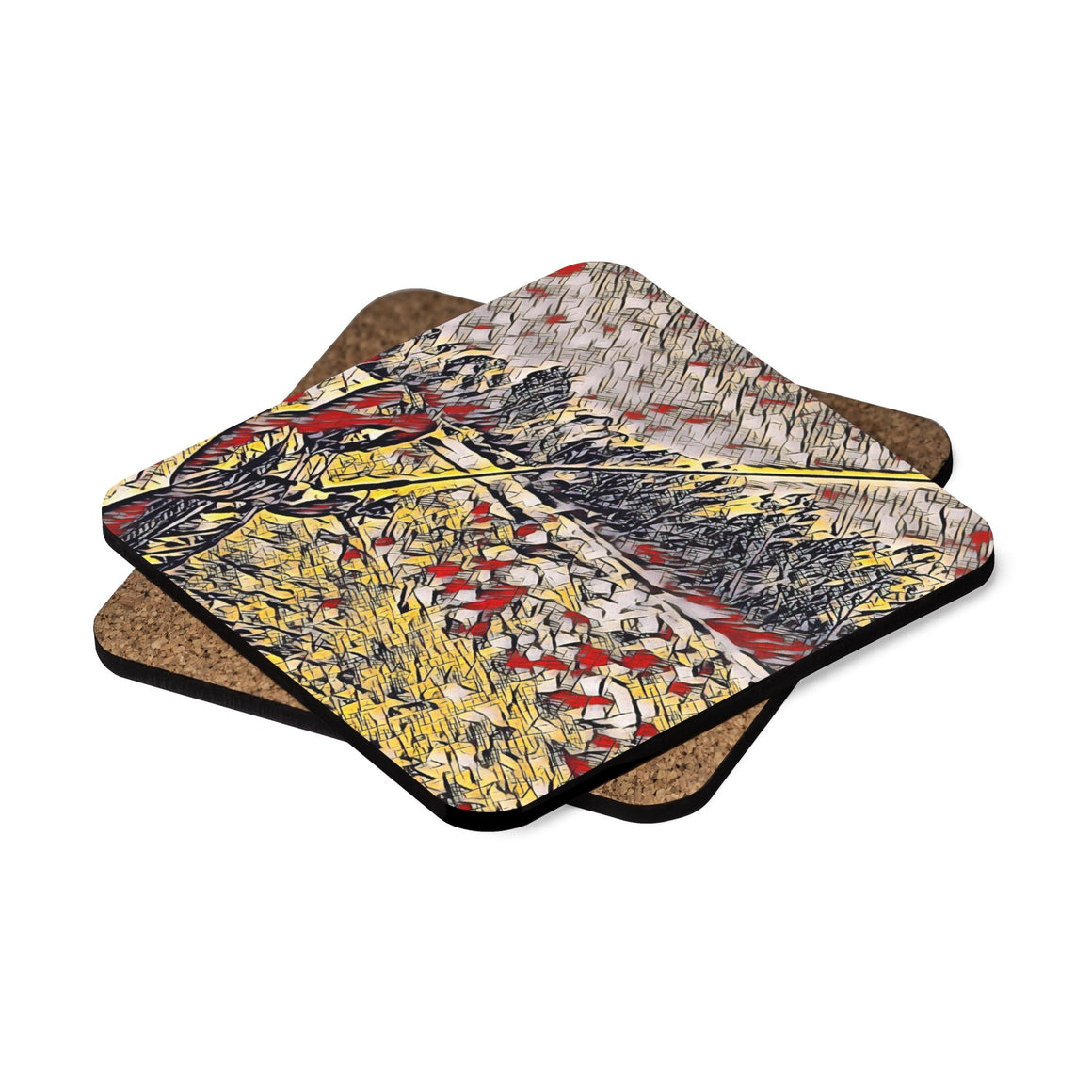 Levi Thang Fishing Design 9 Square Hardboard Coaster Set - 4pcs