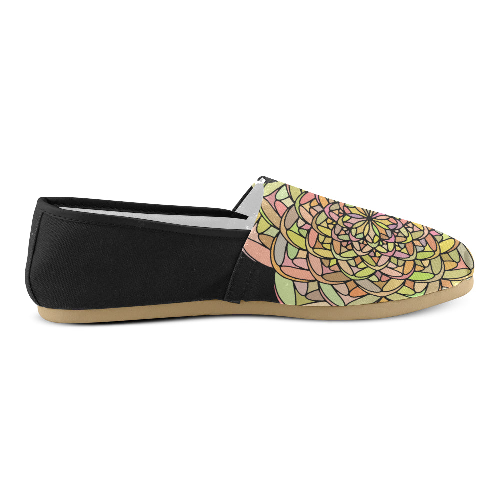 Yellow Colors Floral Mandala Black Back Women's Casual Shoes - I Am A Dreamer