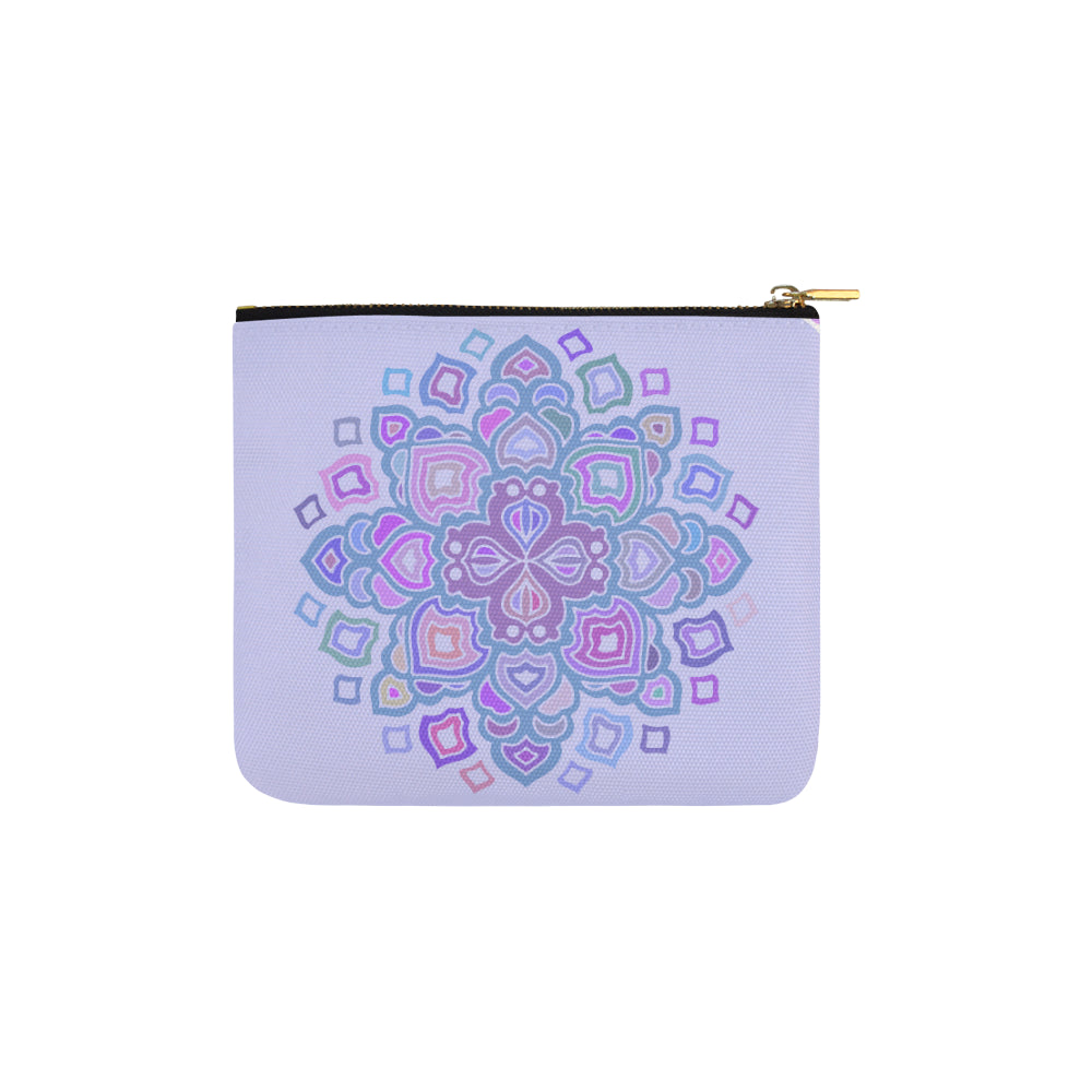 Cross Floral Purple Mandala Carry-All Pouch 6''x5'' - I Am A Dreamer