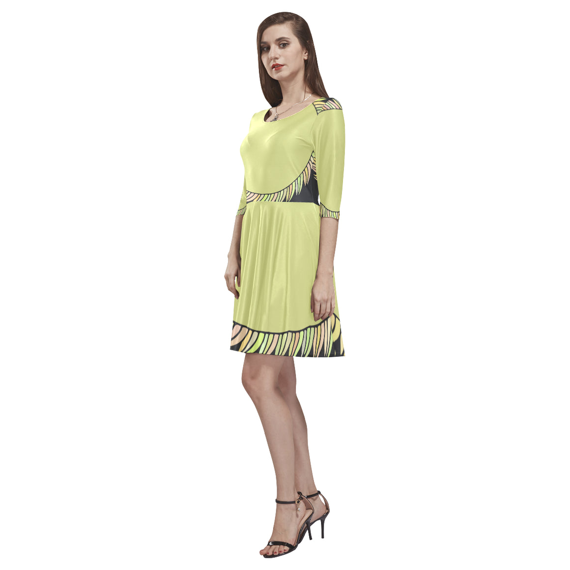 Elegant Fashion Green Sapte Designer Half-Sleeve Skater Dress - I Am A Dreamer