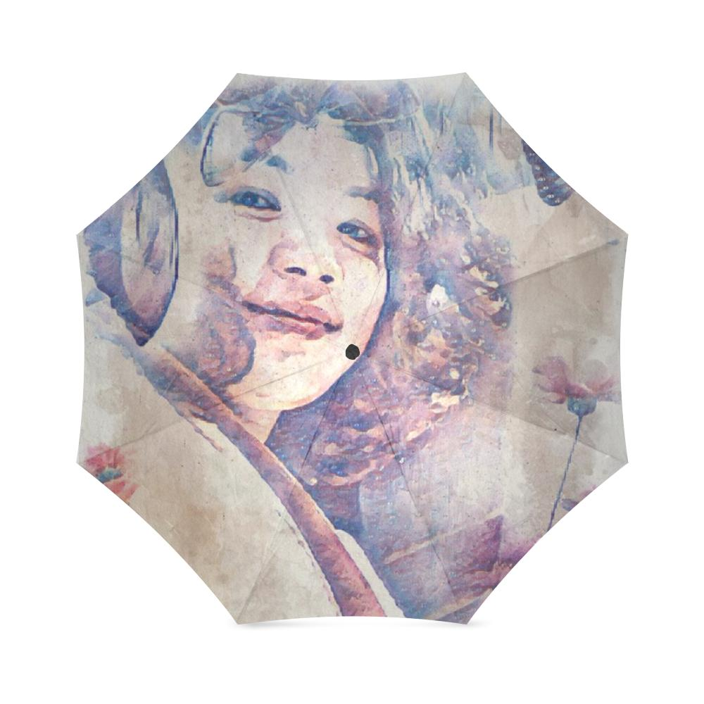 Levi Thang Vintage Face Design V Foldable Umbrella