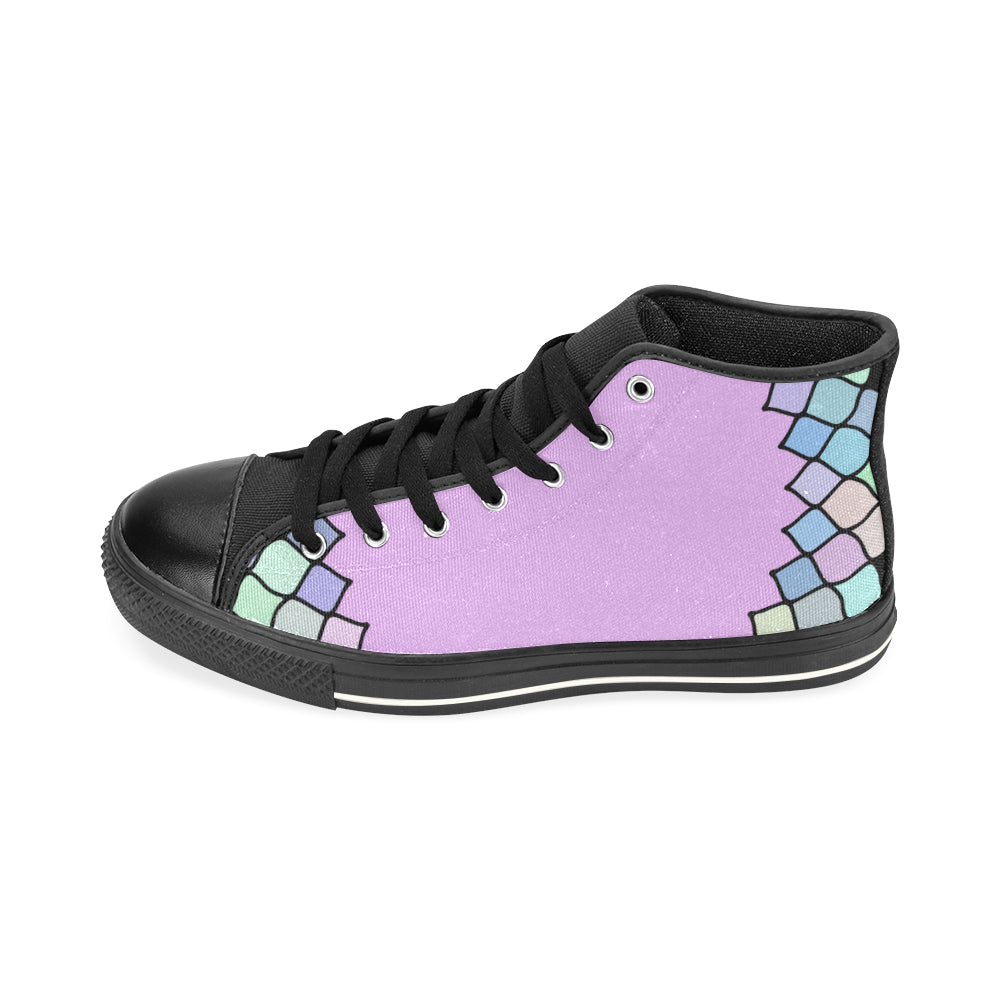 Purple Light Blue Black Base High Top Canvas Women's Shoes/Large Size - I Am A Dreamer