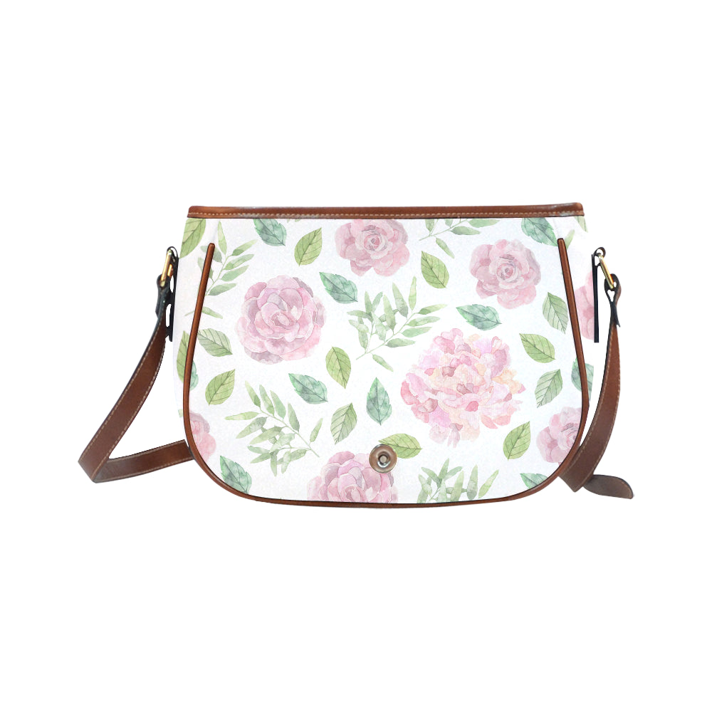 Pink Floral Theme White Base Saddle Bag - I Am A Dreamer