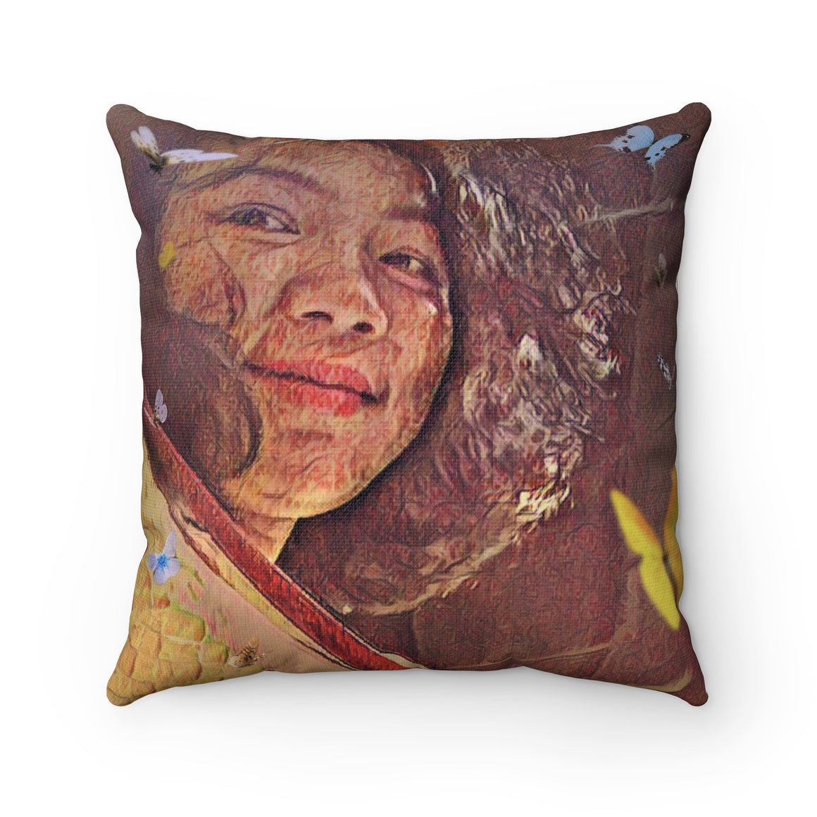 Levi Thang Vintage Face Design J Spun Polyester Square Pillow Case