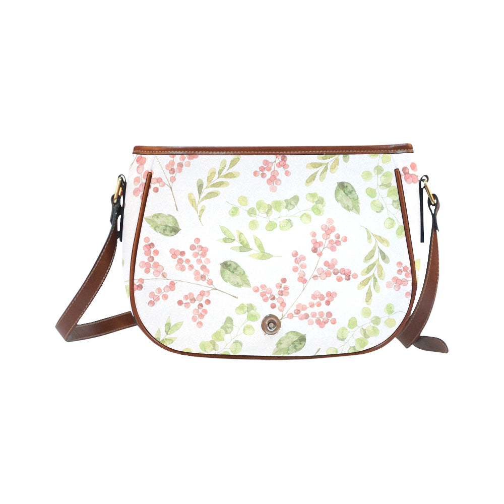 Green Floral Theme White Base Saddle Bag - I Am A Dreamer