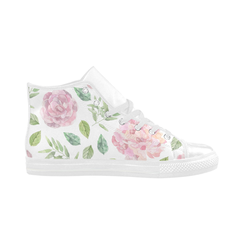 Floral Theme White Aquila High Top Action Leather Women's Shoes - I Am A Dreamer