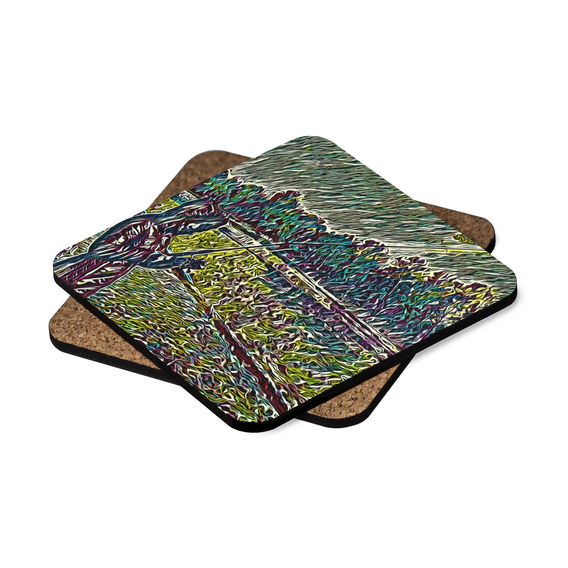 Levi Thang Fishing Design 26 Square Hardboard Coaster Set - 4pcs - I Am A Dreamer