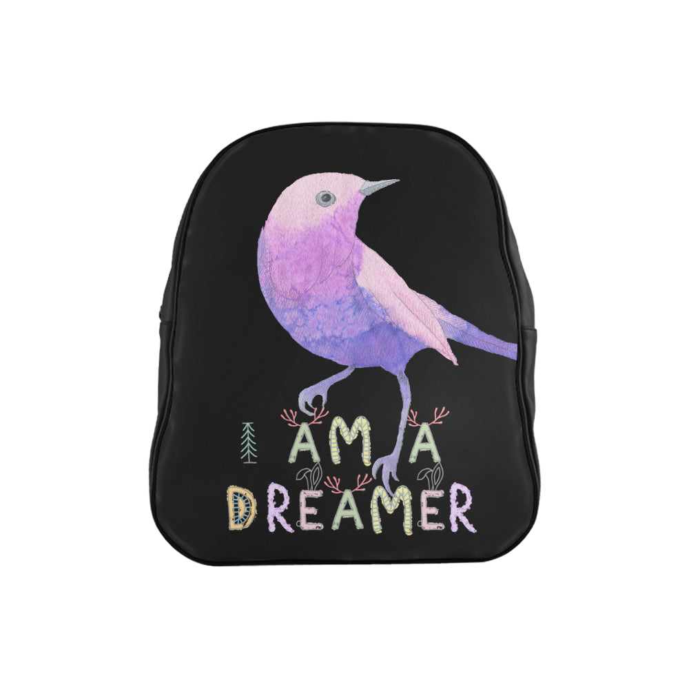 I Am A Dreamer Purple Bird Children School Backpack - I Am A Dreamer