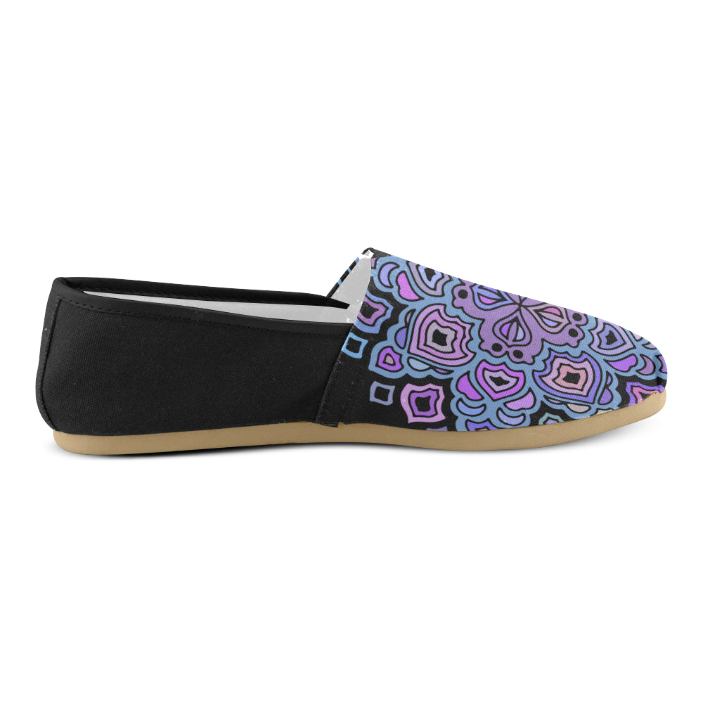 Purple Floral Mandalay Black Back Women's Casual Shoes - I Am A Dreamer