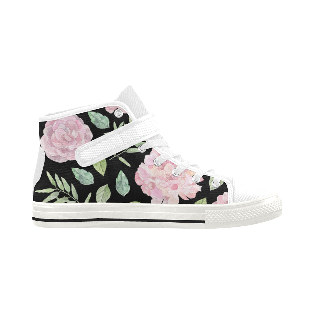 Pink Floral Black Canvas White Strap High Top Women's Shoes - I Am A Dreamer