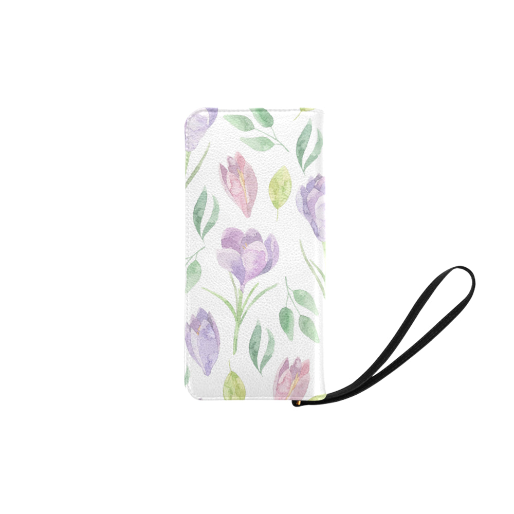Purple Floral White Base Women's Clutch Purse - I Am A Dreamer