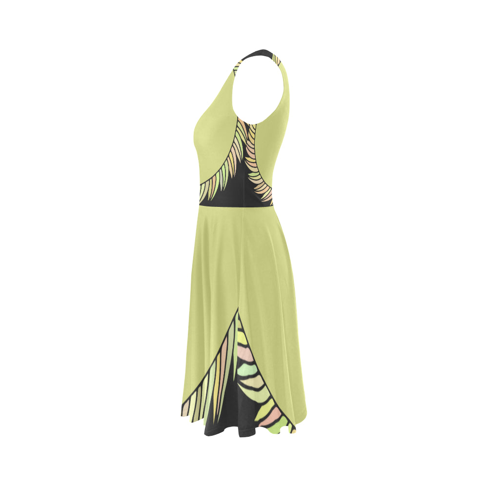Fashion Yellow Sapte Designer Sleeveless Ice Skater Dress - I Am A Dreamer