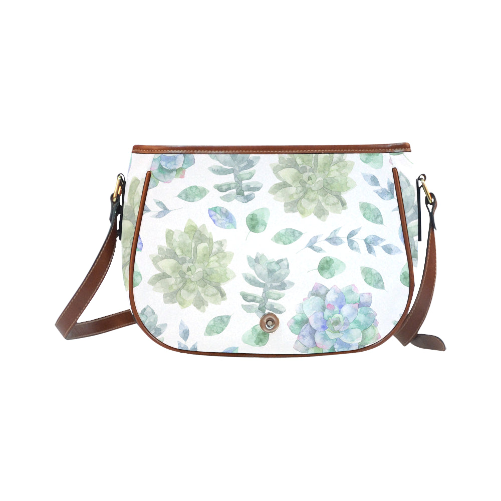 Elegant Green Floral Theme White Base Saddle Bag - I Am A Dreamer