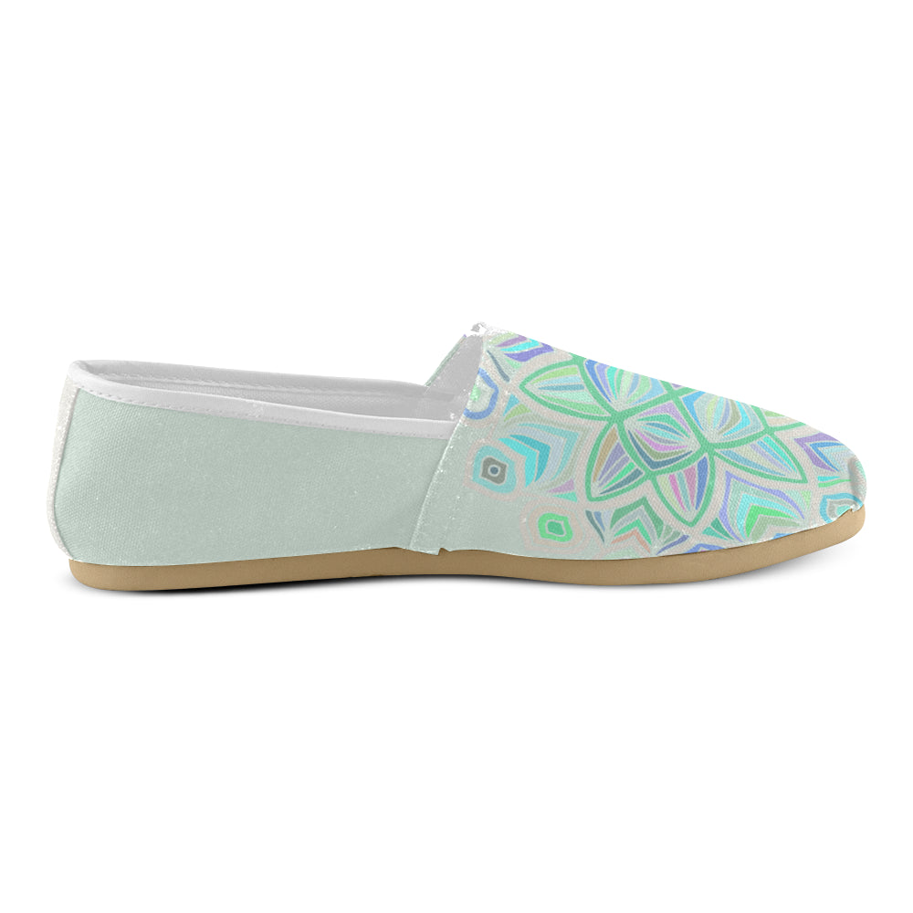 Light Green Floral Purple Green Women's Casual Shoes - I Am A Dreamer