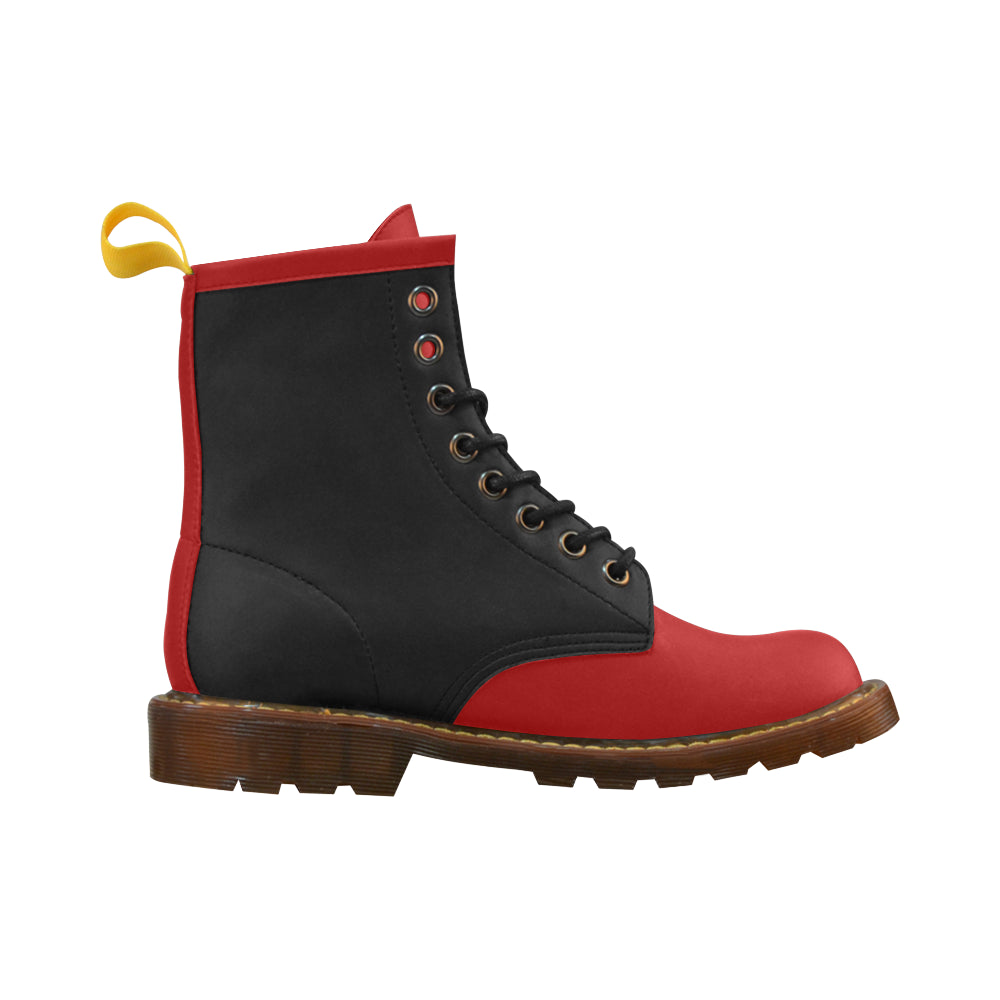 Red Black Leather Martin Boots For Women - I Am A Dreamer