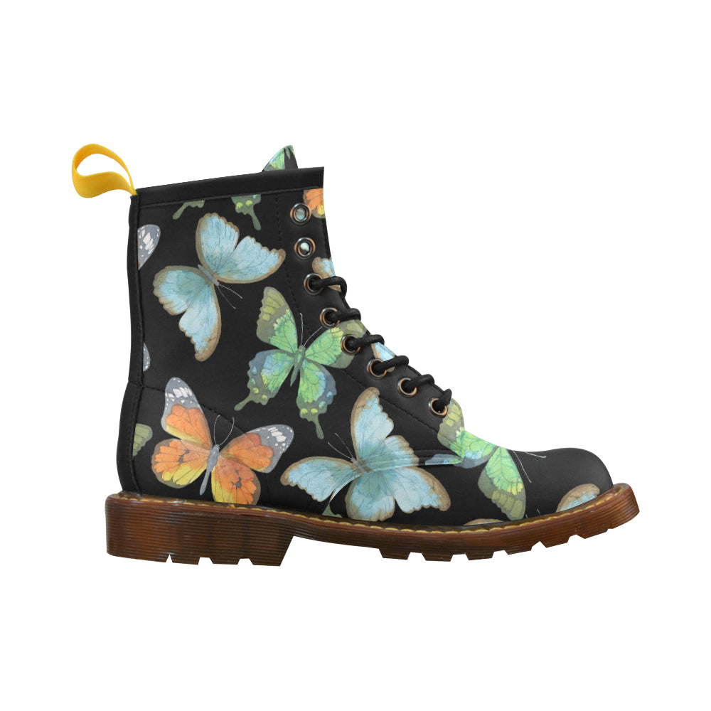 Butterflies Black Leather Martin Boots For Women - I Am A Dreamer