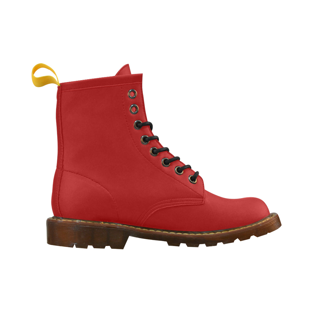 Red Leather Martin Boots For Women - I Am A Dreamer