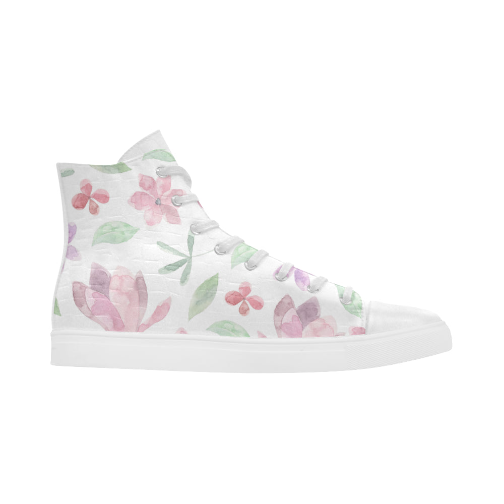 Floral Theme White Andromeda High Top Action Leather Women's Shoes - I Am A Dreamer