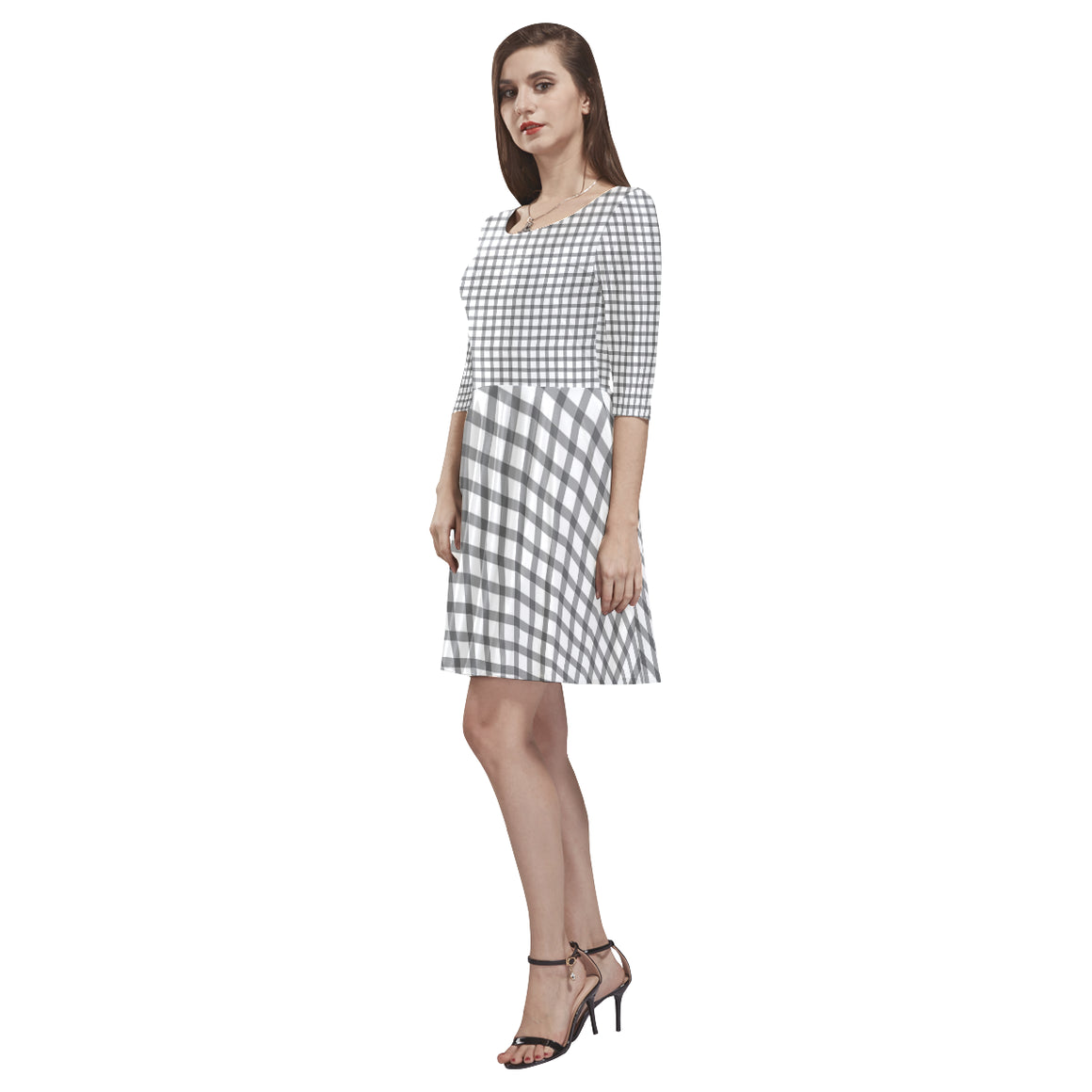 Mizo Black White Stripes Tethys Half-Sleeve Skater Dress - I Am A Dreamer