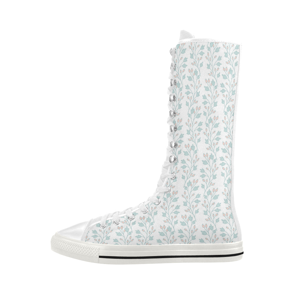 Vintage Fashion Floral Theme White Canvas Long Boots For Women - I Am A Dreamer